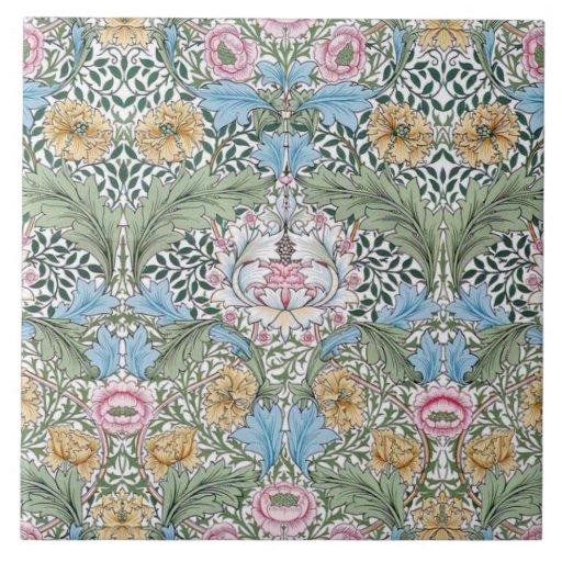William Morris Myrtle Pattern Art Tile or Trivet