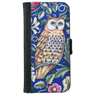 William Morris Owl Tapestry, Beige and Cobalt Blue iPhone 6 Wallet Case