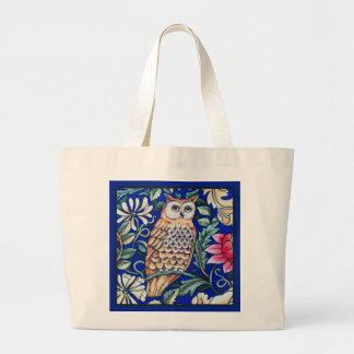 William Morris Owl Tapestry, Beige and Cobalt Blue Large Tote Bag