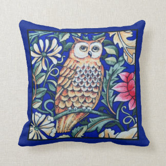 William Morris Owl Tapestry, Beige and Cobalt Blue Throw Pillow