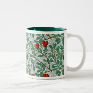 William Morris Pattern in Berry Red and Turquoise Two-Tone Mug