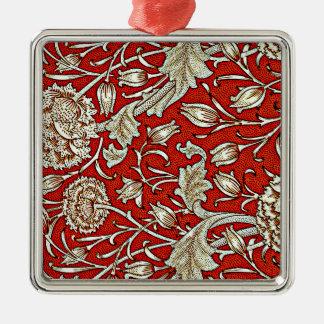 William Morris pattern, Wild Tulip Silver-Colored Square Decoration