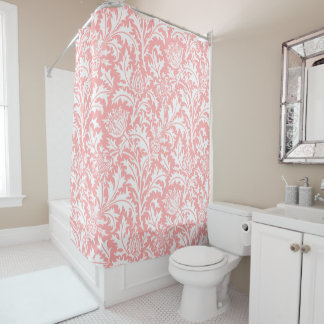 William Morris Peach Pink or Your Custom Color Shower Curtain
