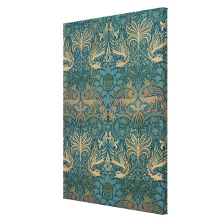 William Morris Peacock and Dragon Textile Design Canvas Print