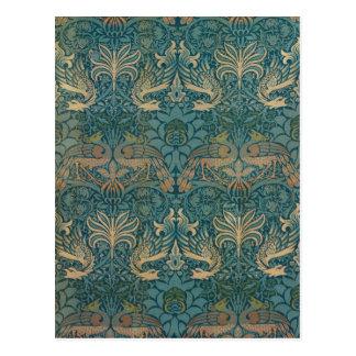 William Morris Peacock and Dragon Textile Design Postcard