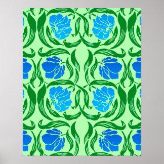 William Morris Pimpernel, Blue & Lime Green Poster