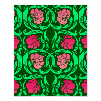 William Morris Pimpernel, Coral Pink and Green Poster