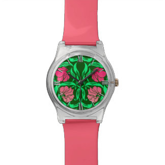 William Morris Pimpernel, Coral Pink and Green Wrist Watches