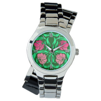 William Morris Pimpernel, Coral Pink and Green Wristwatch