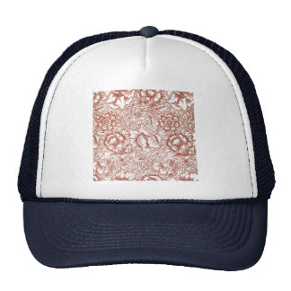William Morris Pink and Poppy Textile Pattern Hats