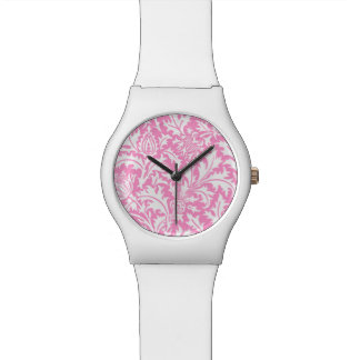 William Morris Pink and White Thistle Pattern Wristwatches