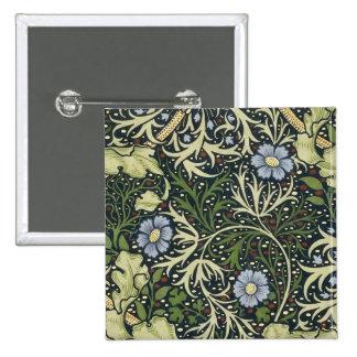 William Morris Seaweed Pattern Floral Vintage Art 15 Cm Square Badge