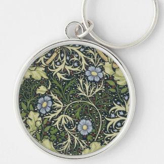 William Morris Seaweed Pattern Floral Vintage Art Silver-Colored Round Key Ring