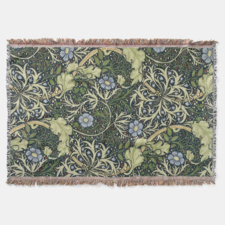 William Morris Seaweed Pattern Floral Vintage Art Throw Blanket