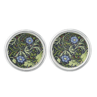 William Morris Seaweed Wallpaper Pattern Cufflinks