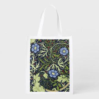 William Morris Seaweed Wallpaper Pattern Reusable Grocery Bag