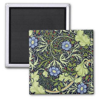 William Morris Seaweed Wallpaper Pattern Square Magnet