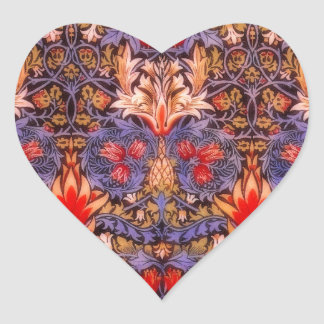 William Morris Snakeshead Vintage Floral Heart Sticker