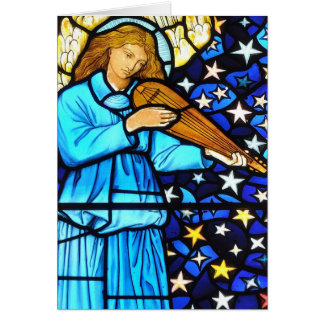 William Morris stained glass angel design Greeting Card
