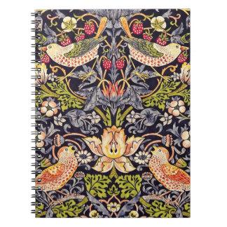 William Morris Strawberry Thief Floral Art Nouveau Spiral Notebook