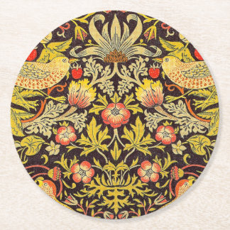 William Morris Strawberry Thief Pattern Round Paper Coaster
