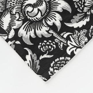 William Morris Sunflowers, Black and White Fleece Blanket