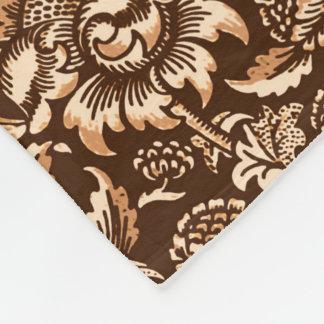 William Morris Sunflowers, Chocolate Brown & Beige Fleece Blanket