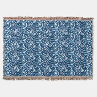 William Morris Sunflowers, Dark Blue and White Throw Blanket
