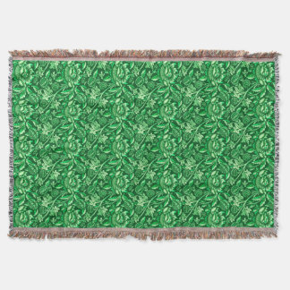 William Morris Sunflowers, Emerald Green Throw Blanket
