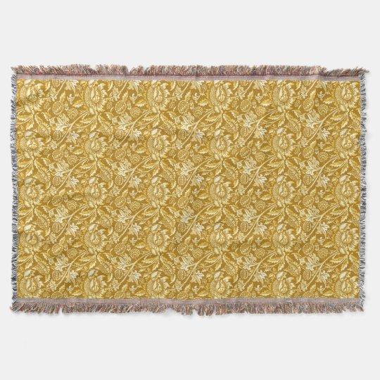 William Morris Sunflowers Mustard Yellow Gold Throw Blanket