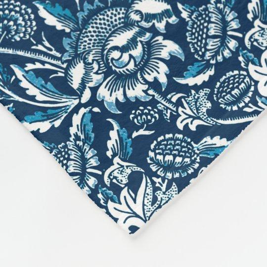 William Morris Sunflowers, Navy Blue and White Fleece