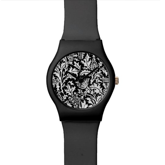 William Morris Thistle Damask, Black and White Watch