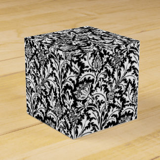 William Morris Thistle Damask, Black and White Wedding Favour Boxes