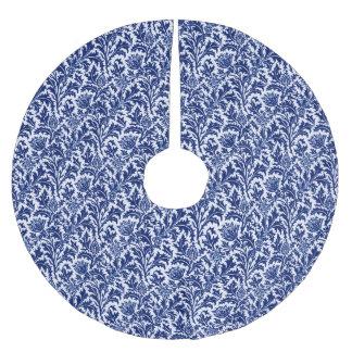 William Morris Thistle Damask, Cobalt Blue & White Brushed Polyester Tree Skirt