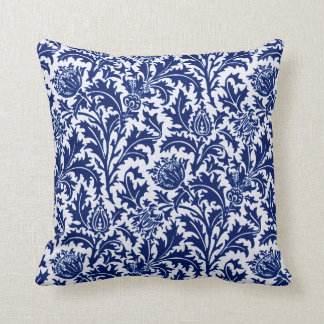William Morris Thistle Damask, Cobalt Blue & White Cushion
