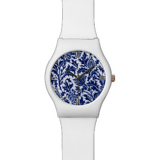 William Morris Thistle Damask, Cobalt Blue & White Watch