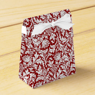 William Morris Thistle Damask, Dark Red & White Favour Box
