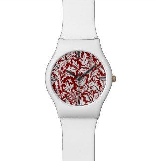 William Morris Thistle Damask, Dark Red & White Watch