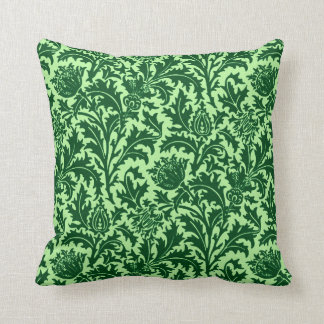William Morris Thistle Damask, Emerald Green Cushion