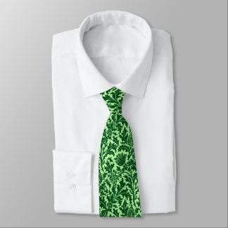 William Morris Thistle Damask, Emerald Green Tie