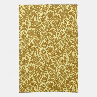 William Morris Thistle Damask, Mustard Gold Tea Towel