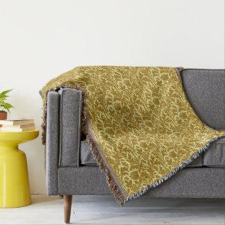 William Morris Thistle Damask, Mustard Gold Throw Blanket