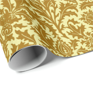 William Morris Thistle Damask, Mustard Gold Wrapping Paper