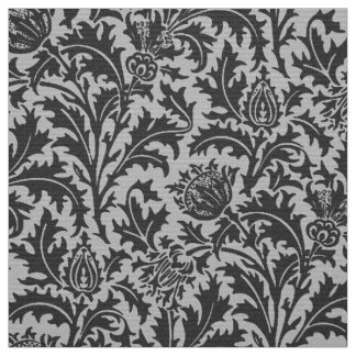William Morris Thistle Damask, Silver Gray / Grey Fabric