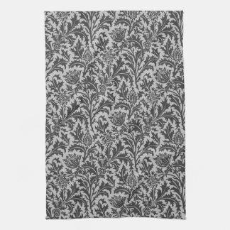 William Morris Thistle Damask, Silver Gray / Grey Tea Towel
