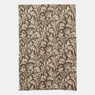 William Morris Thistle Damask, Taupe Tan & Beige Tea Towel