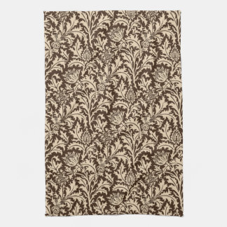 William Morris Thistle Damask, Taupe Tan & Beige Towel
