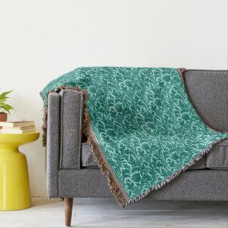 William Morris Thistle Damask, Turquoise and Aqua Throw Blanket