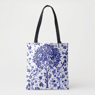 William Morris Tree of Life, Cobalt Blue and White Tote Bag