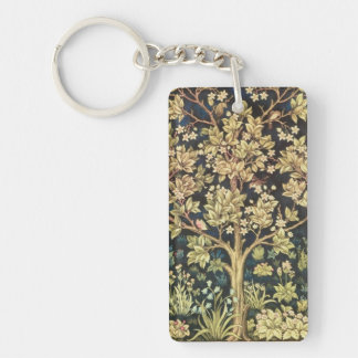 William Morris Tree Of Life Floral Vintage Art Double-Sided Rectangular Acrylic Key Ring
